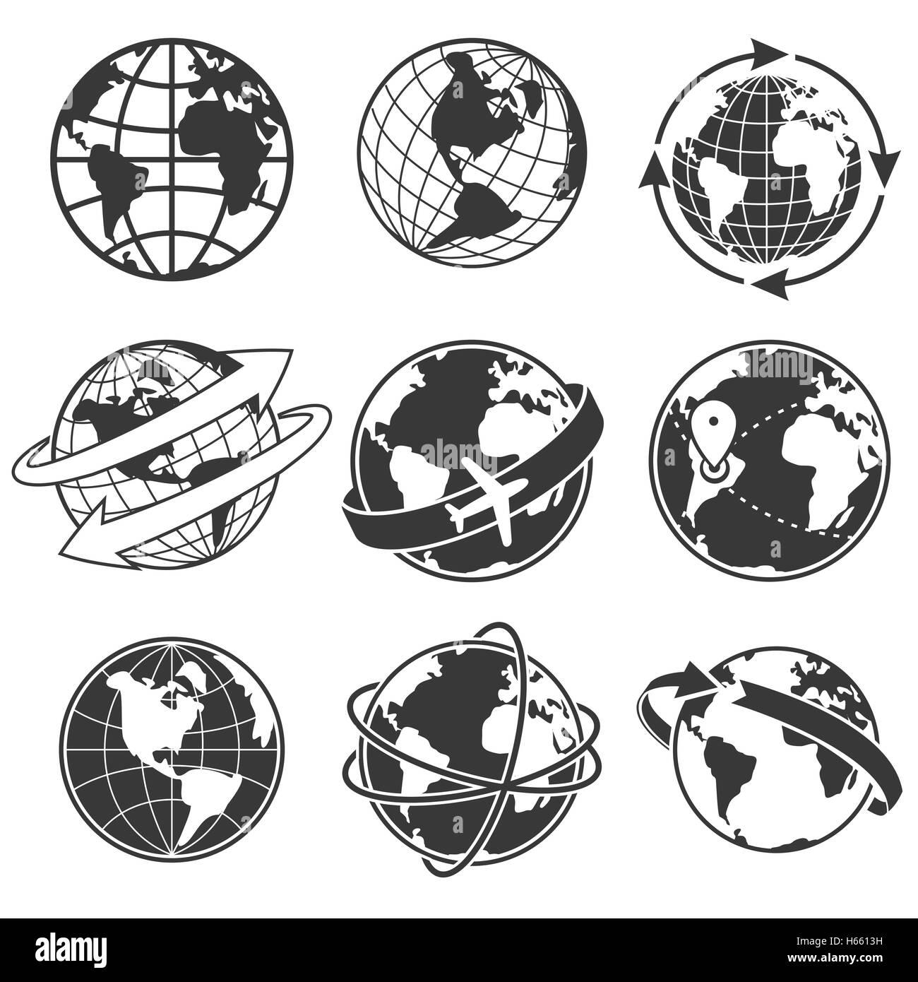 Globe concept illustration set, monochrome - Stock Image
