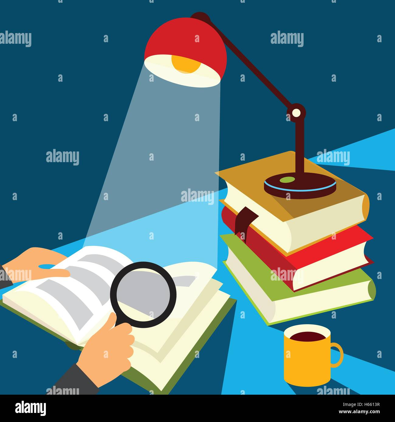 Reading a book illustration - Stock Image