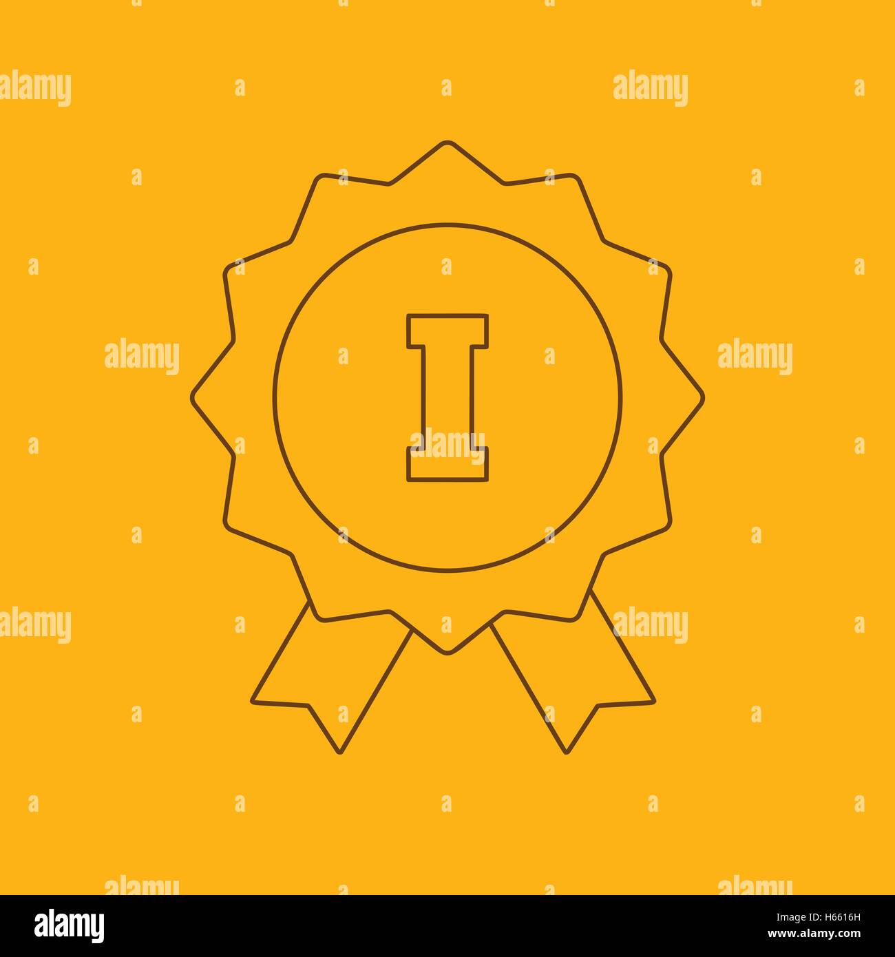 1st place ribbon line icon - Stock Image