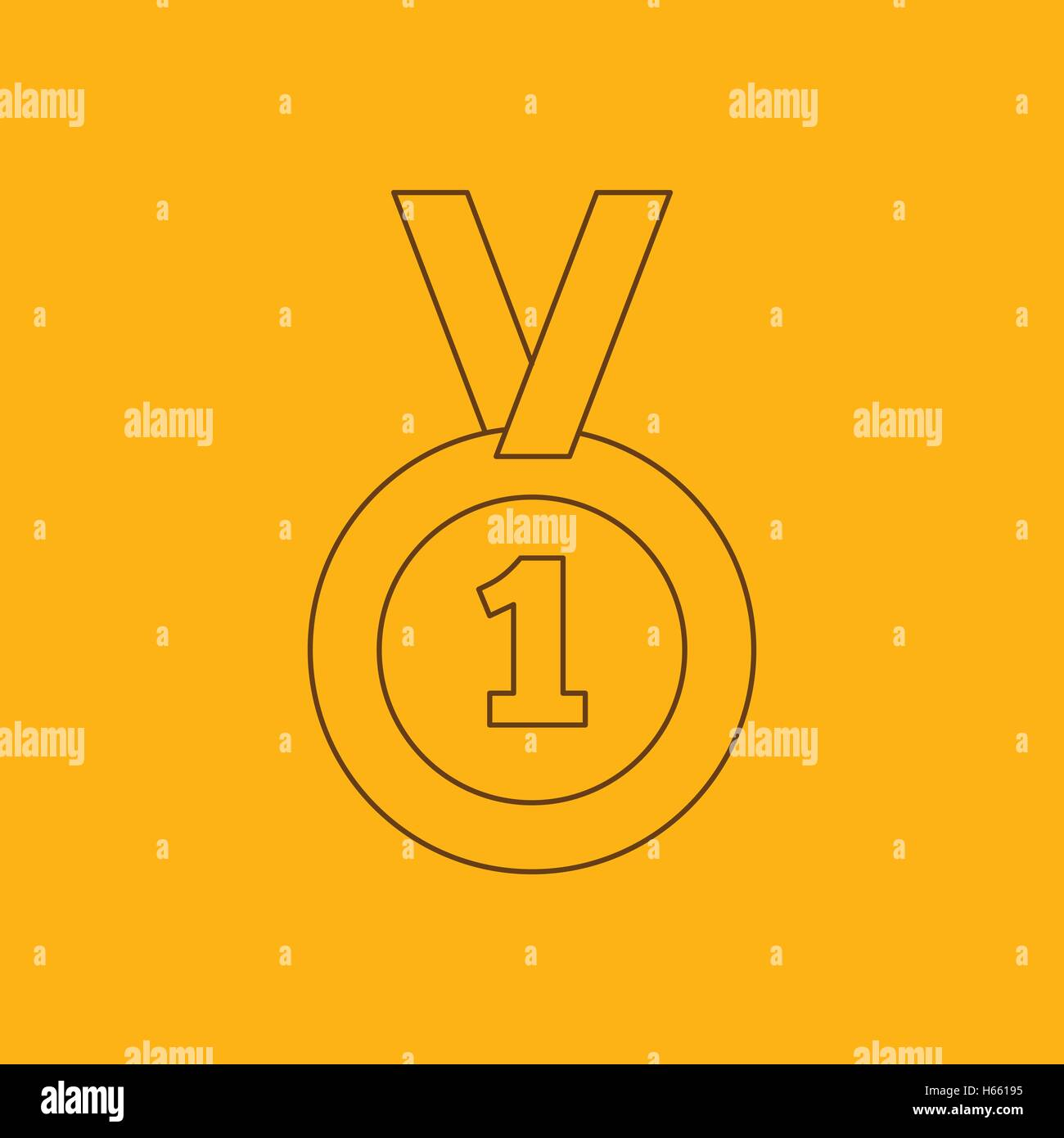 1st place medal line icon - Stock Image