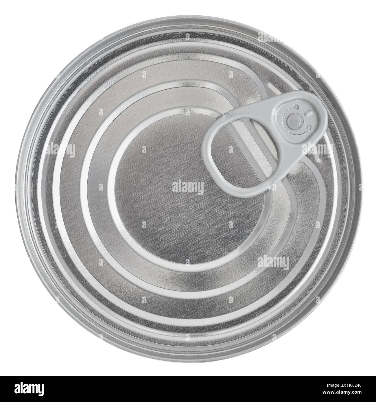Tin Can Lid, Food Preserve Ring Pull Stay-Tab Canister Sealed Top, Large Detailed Isolated Macro Closeup - Stock Image