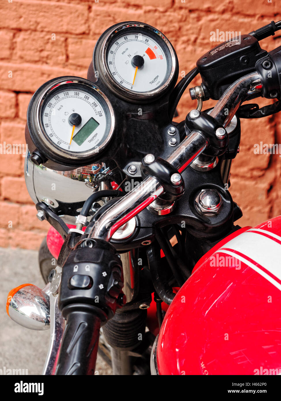 Moscow, Russia - June 18, 2016: Close-up of Triumph motorcycle dashboard - Stock Image