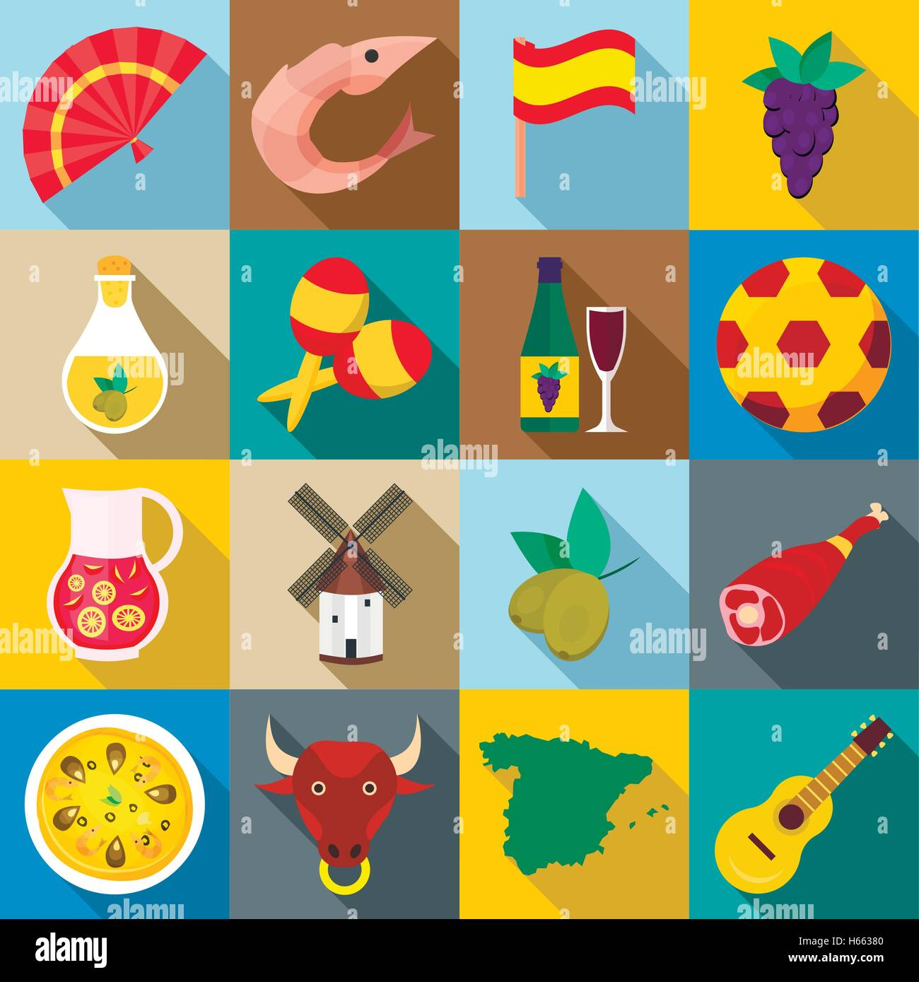 Spain icons set, flat style - Stock Vector