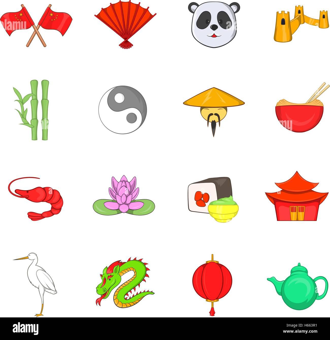 China icons set, cartoon style - Stock Image
