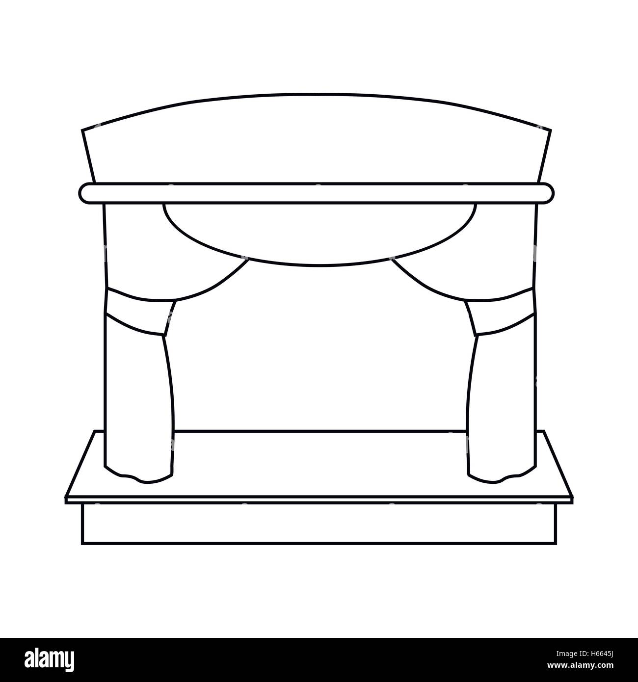 Theater stage icon, outline style - Stock Vector