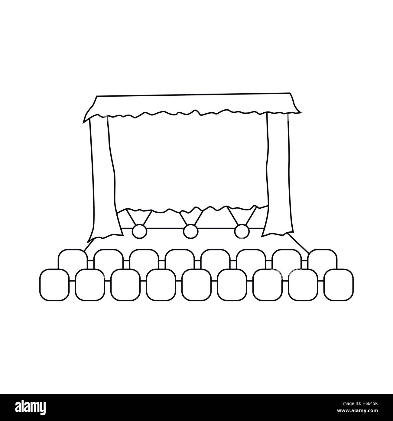 Theater auditorium icon, outline style - Stock Vector