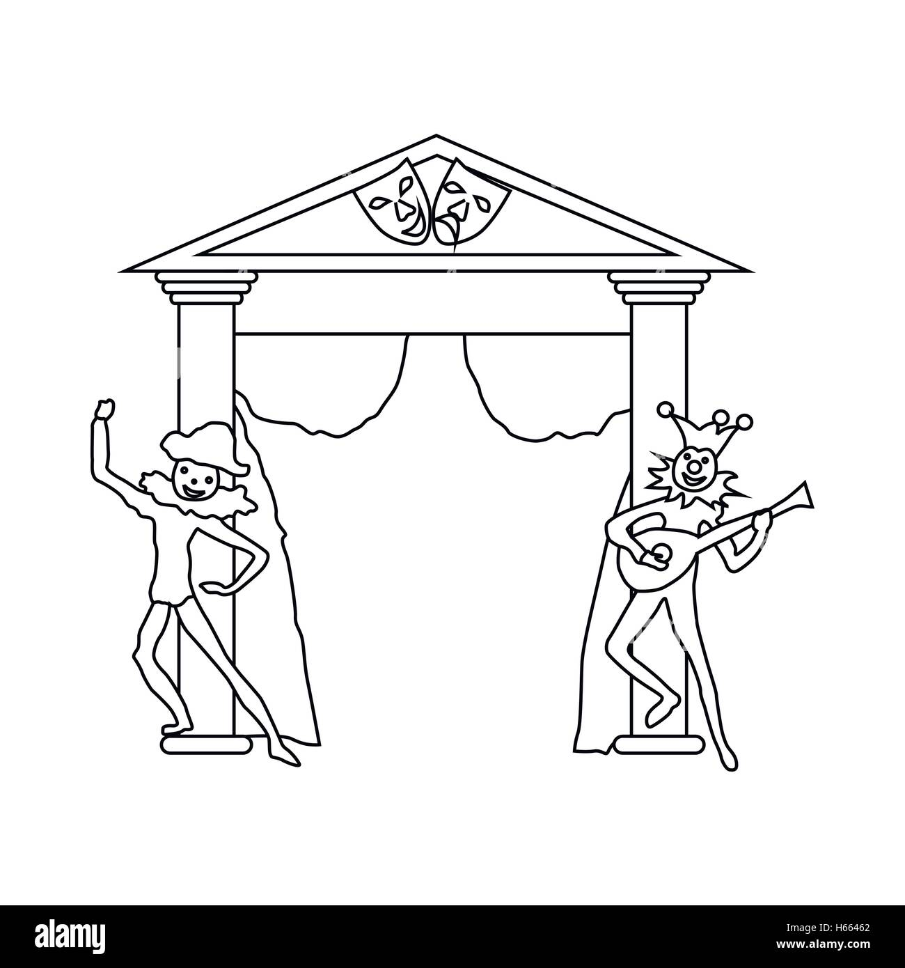 Theater stage with open curtains and actors icon - Stock Vector