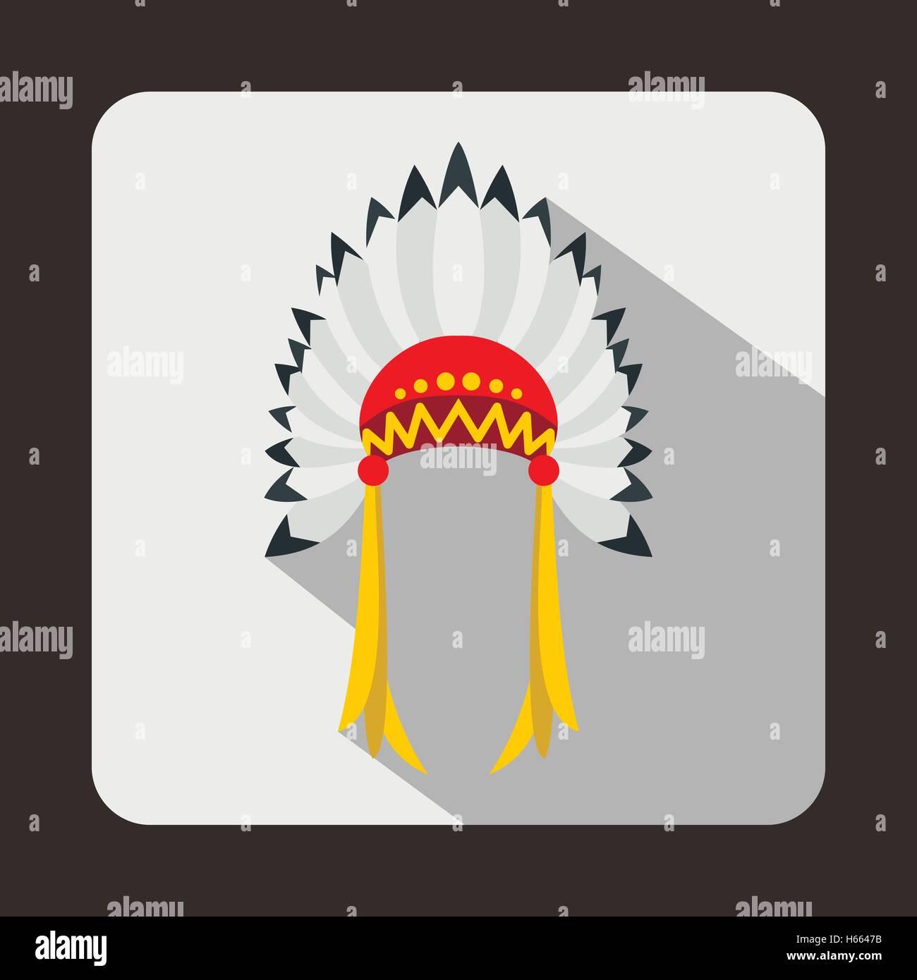 Indian headdress icon, flat style - Stock Image