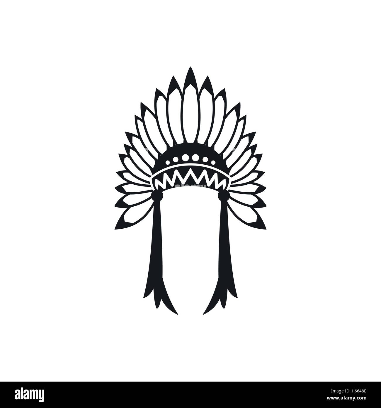 Indian headdress icon, simple style - Stock Image