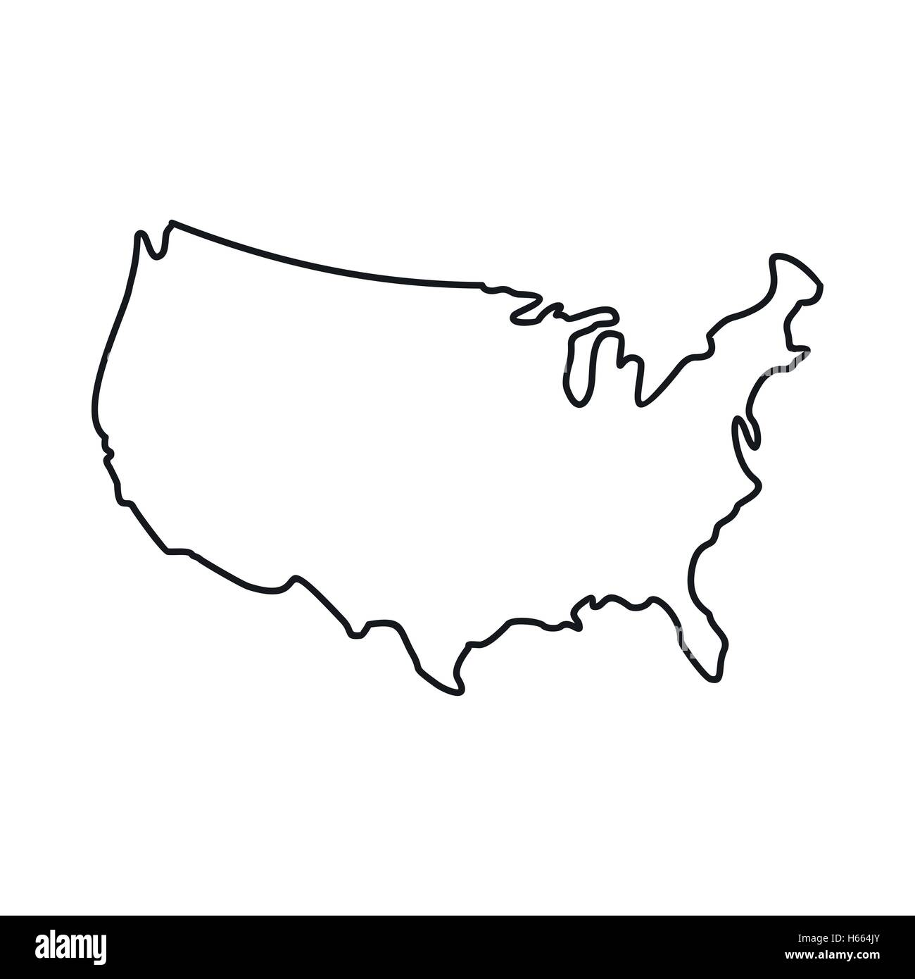 USA map icon, outline style Stock Vector Art & Illustration ...