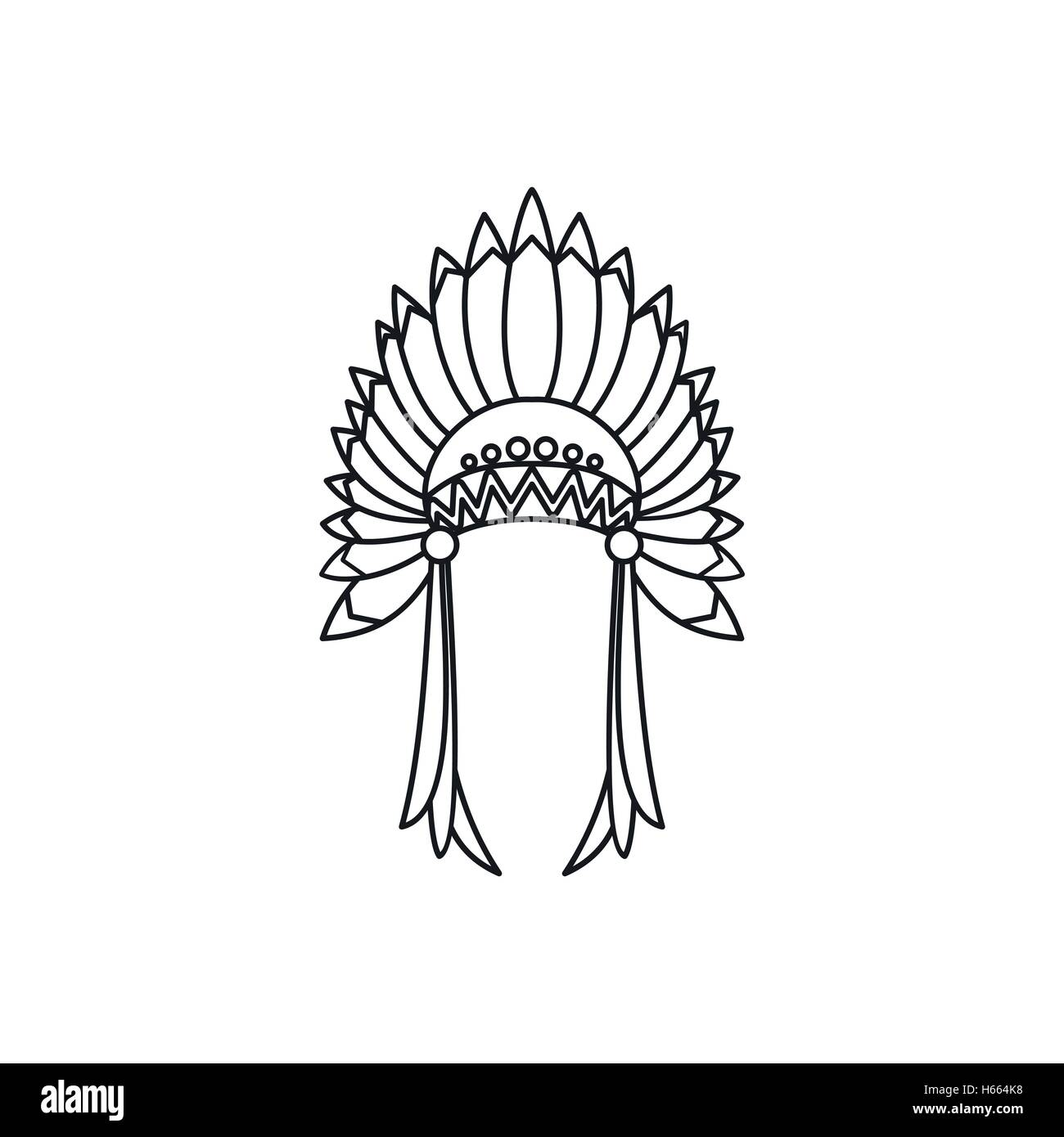 Indian headdress icon, outline style - Stock Image