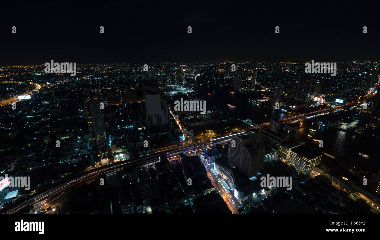 Night Bangkok, panorama of illuminated city - Stock Image