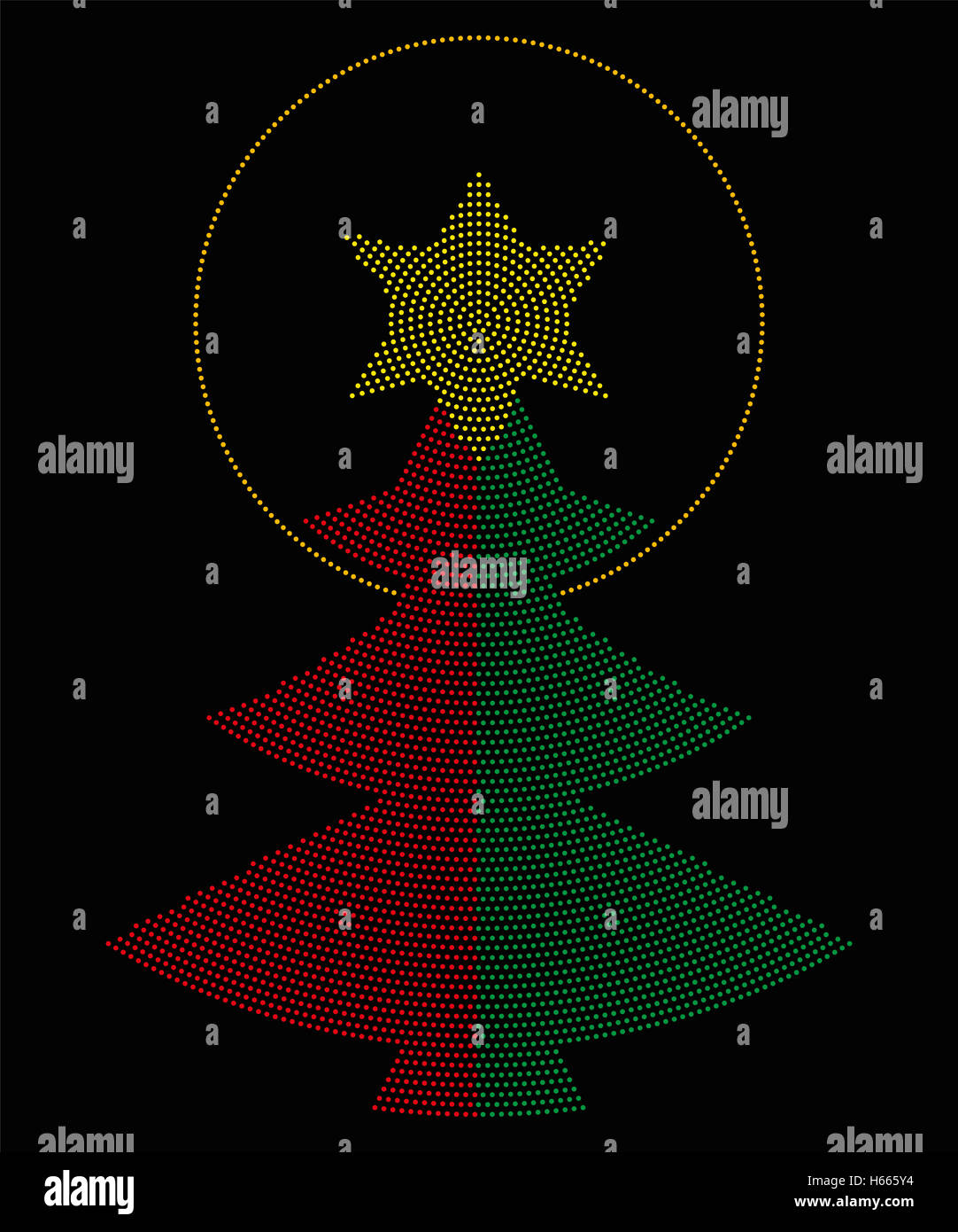 Christmas tree symbol radial dot pattern. Single tree in red and green color, a yellow six-pointed star on top with - Stock Image