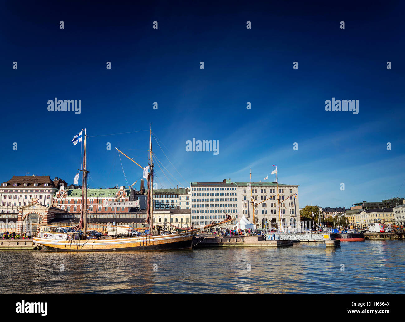 view of sailing boats in helsinki city harbor port in finland - Stock Image