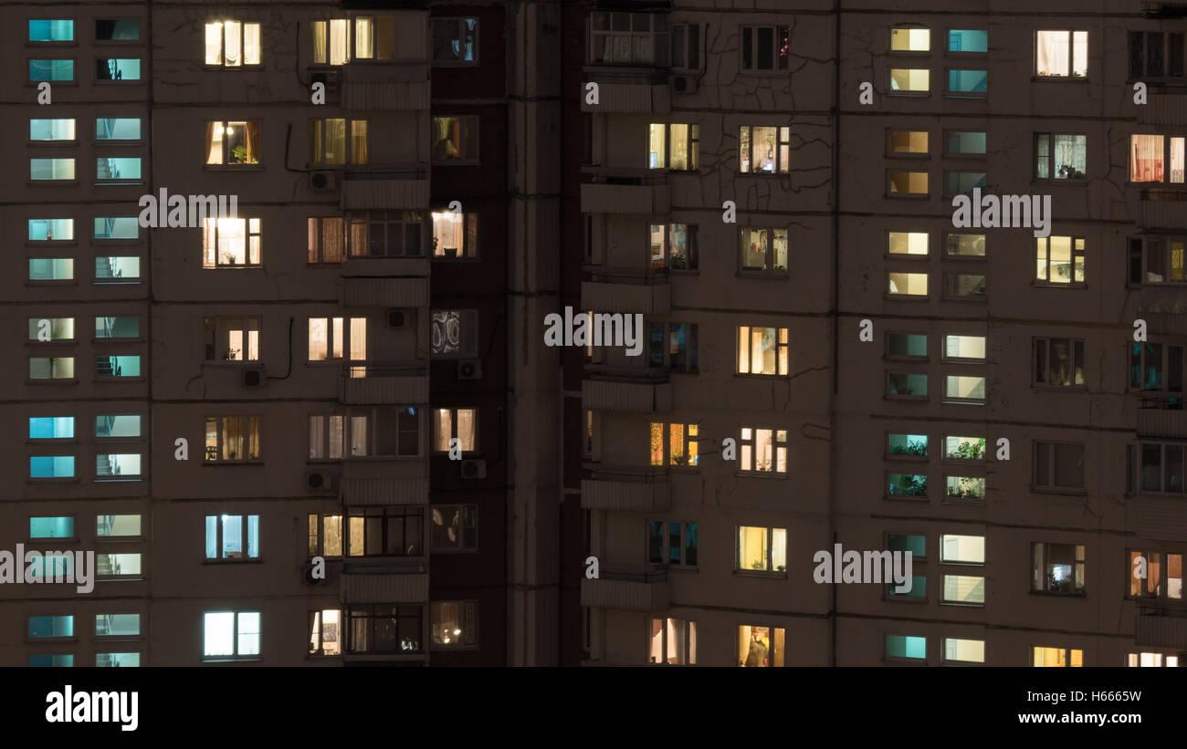 Night view of panel multistorey house - Stock Image