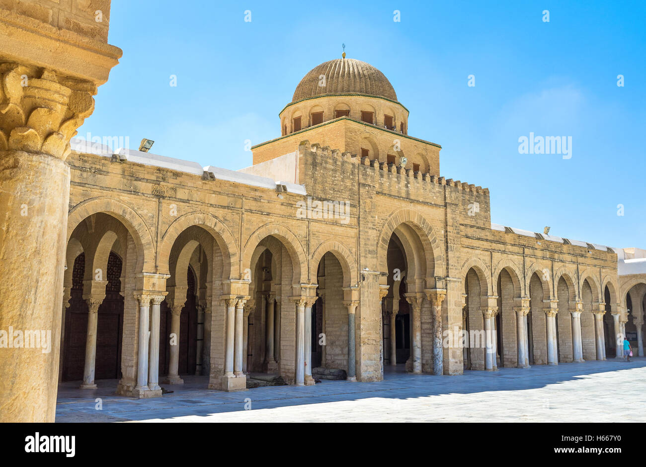 The main entrance to the prayer hall of the Great Mosque decorated with many antique columns - Stock Image