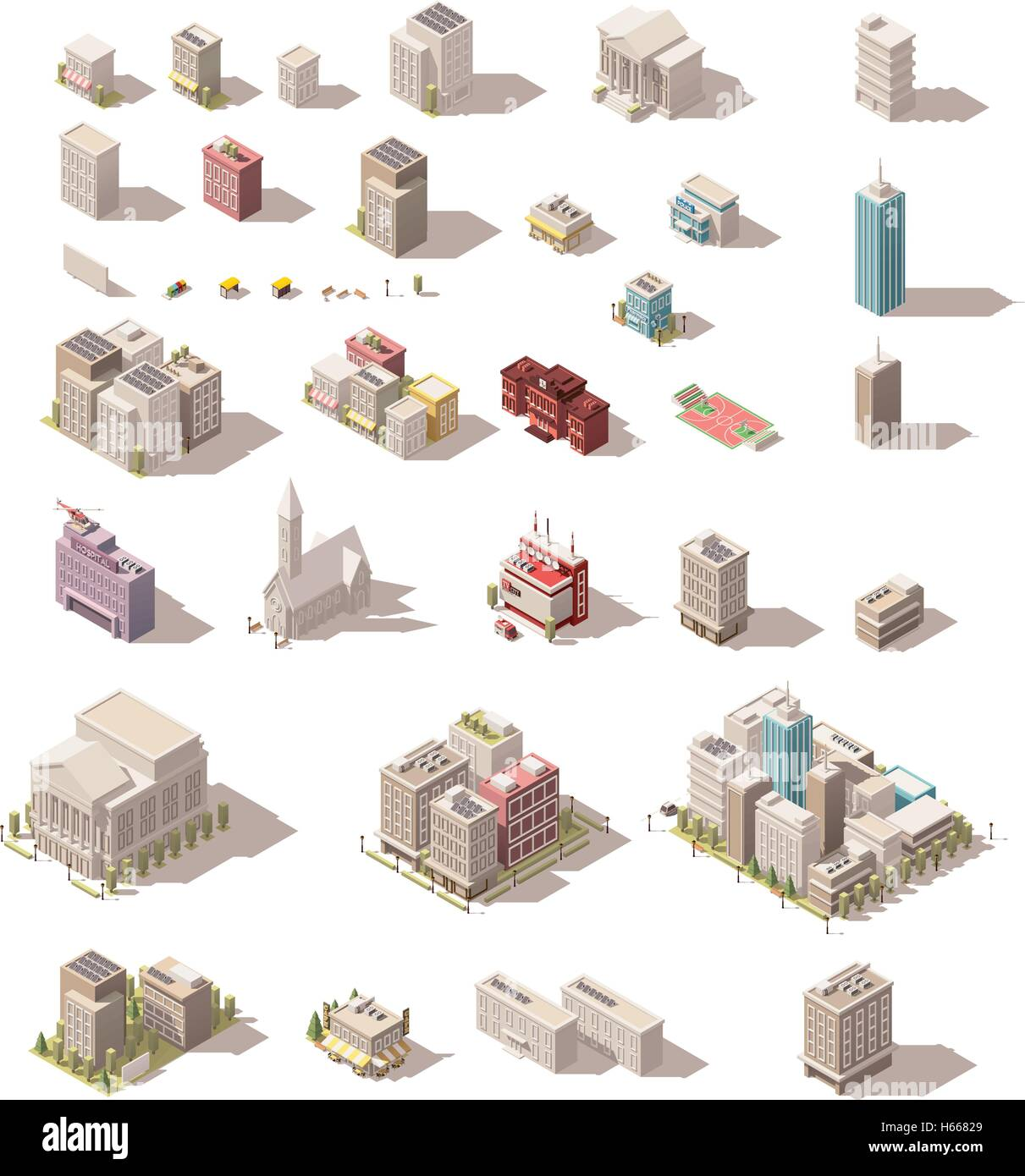 Vector isometric low poly buildings set - Stock Image