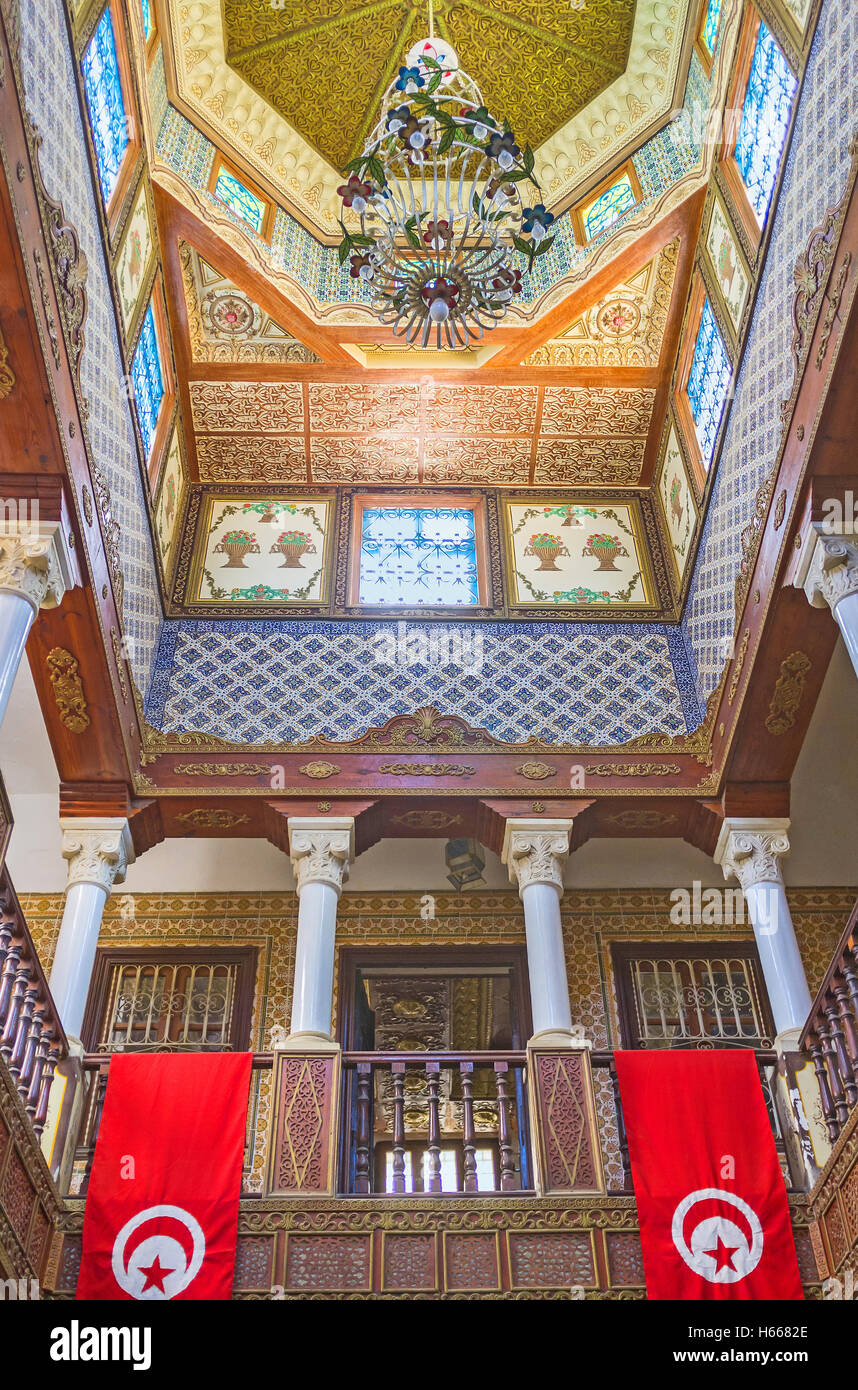 The interriors of the Governors mansion are the masterpieces of islamic art, Kairouan Tunisia - Stock Image
