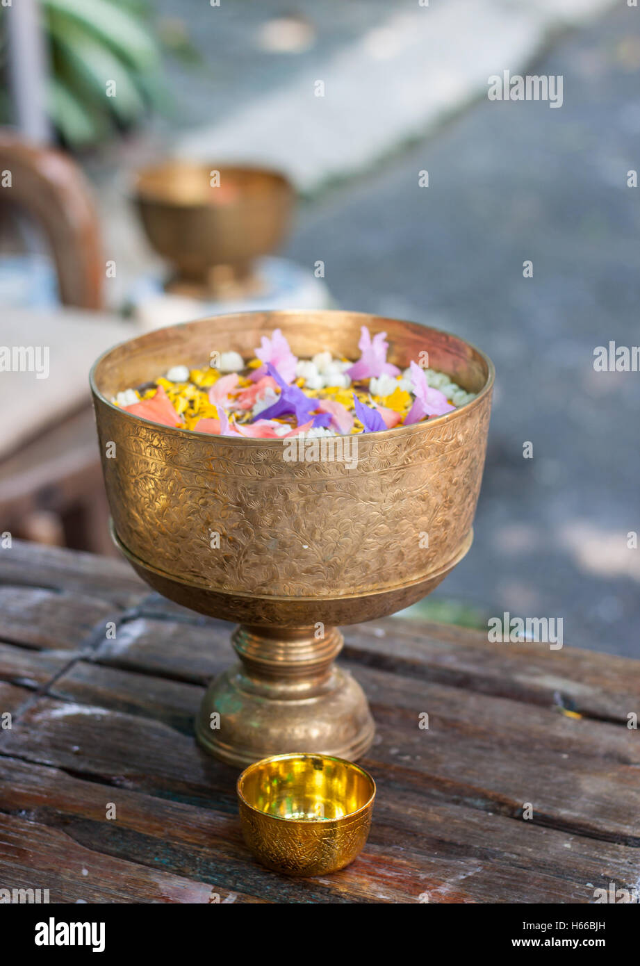 Songkran festival in Thailand, mixed flower and perfume in the bowl - Stock Image