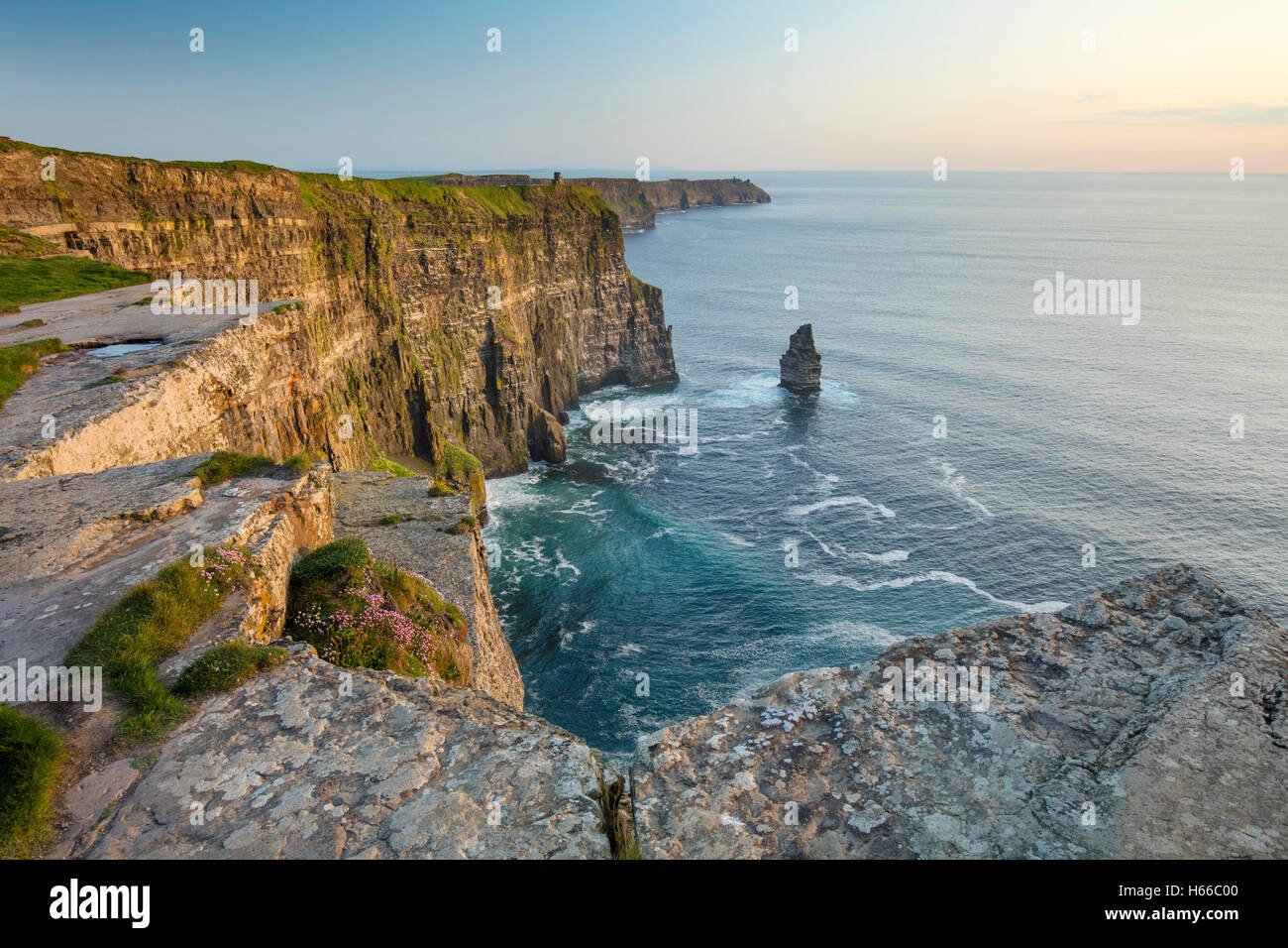 View across the Cliffs of Moher, County Clare, Ireland. - Stock Image