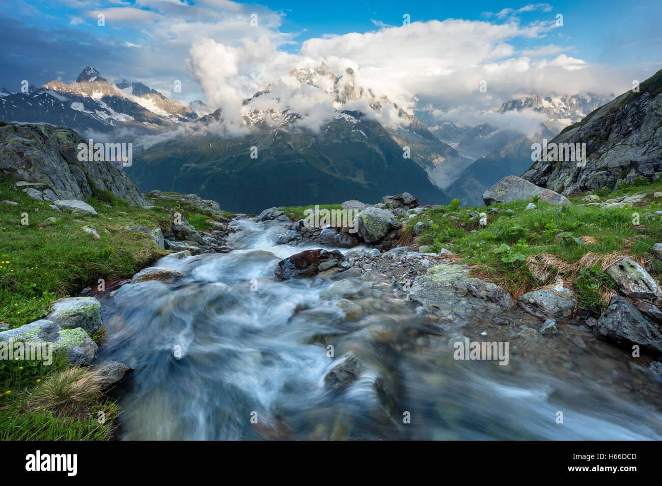 Stream beneath Aiguille Verte, Chamonix Valley, French Alps, France. Stock Photo