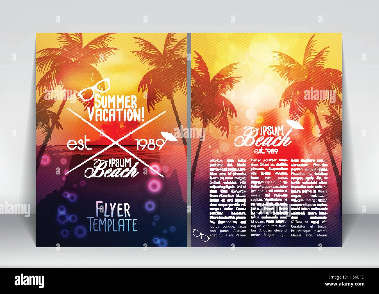 summer vacation flyer design with palm trees and paradise island