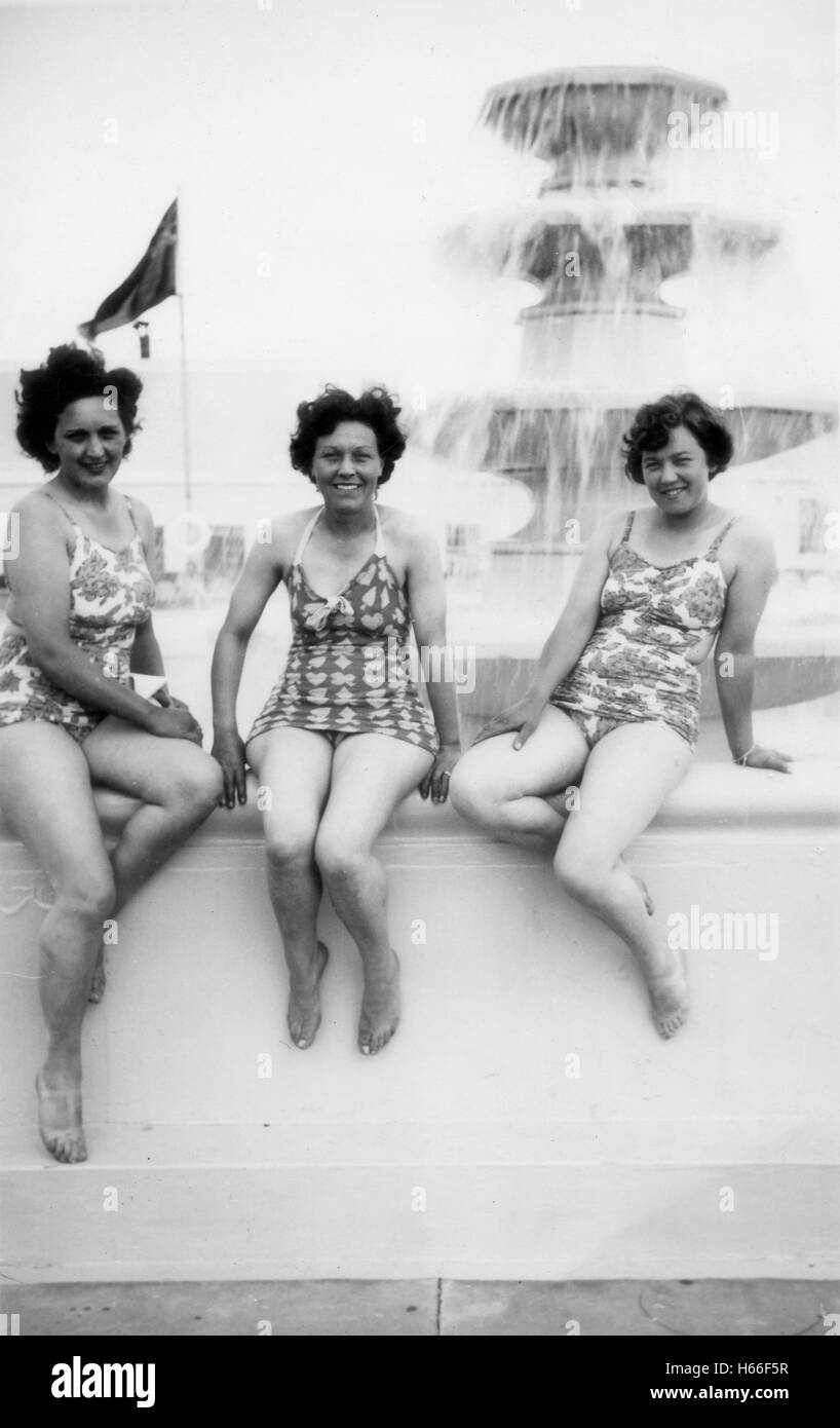 e35949cc61 Women in bathing costumes holidaymakers on holiday at Butlins camp at  Clacton Essex in 1950s -
