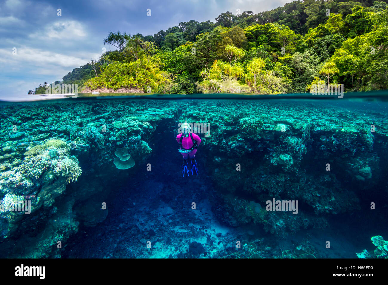 Split image shot of blond female scuba diver exploring coral reef with tropical island in background Stock Photo