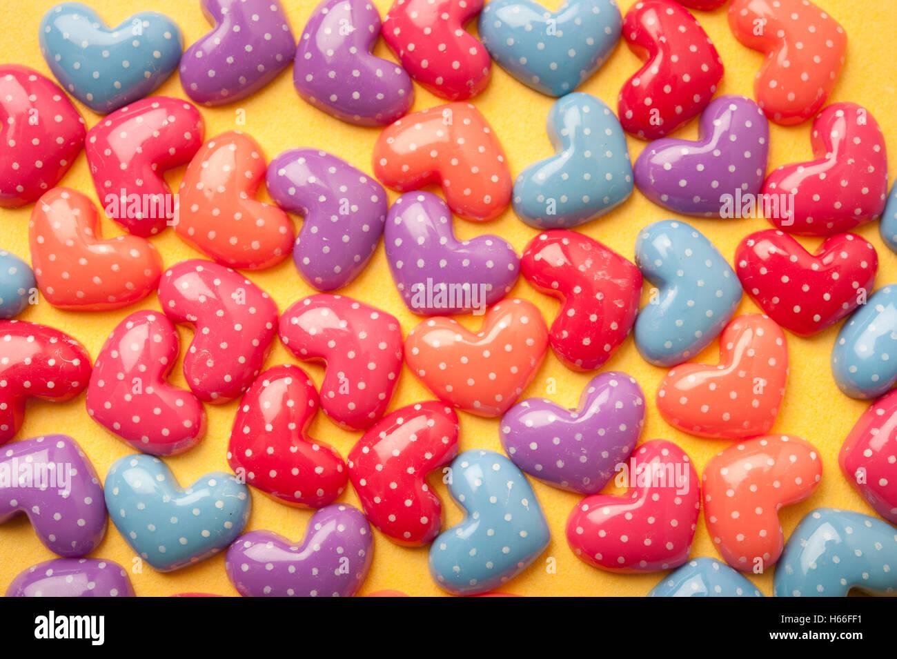colorful heart shaped confetti, love concept - Stock Image