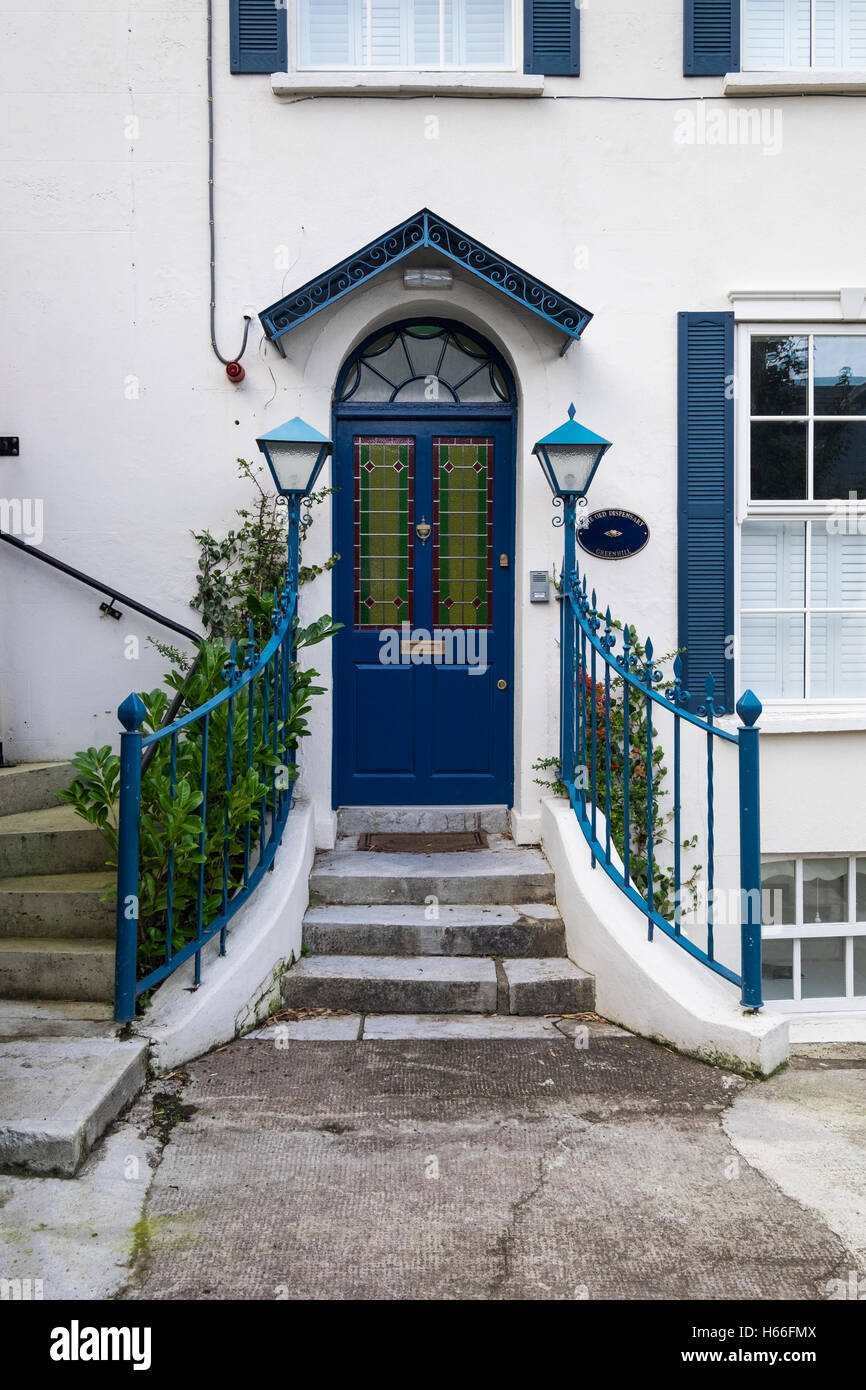 Beau Steps Up To A Front Door With Stained Glass Panels In Kinsale, County Cork,