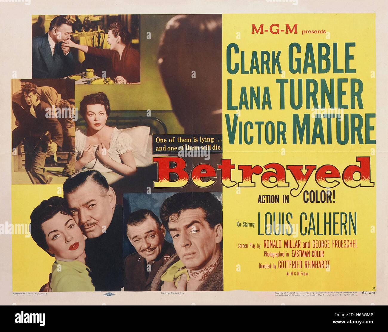 Betrayed (1954) - Movie Poster - - Stock Image