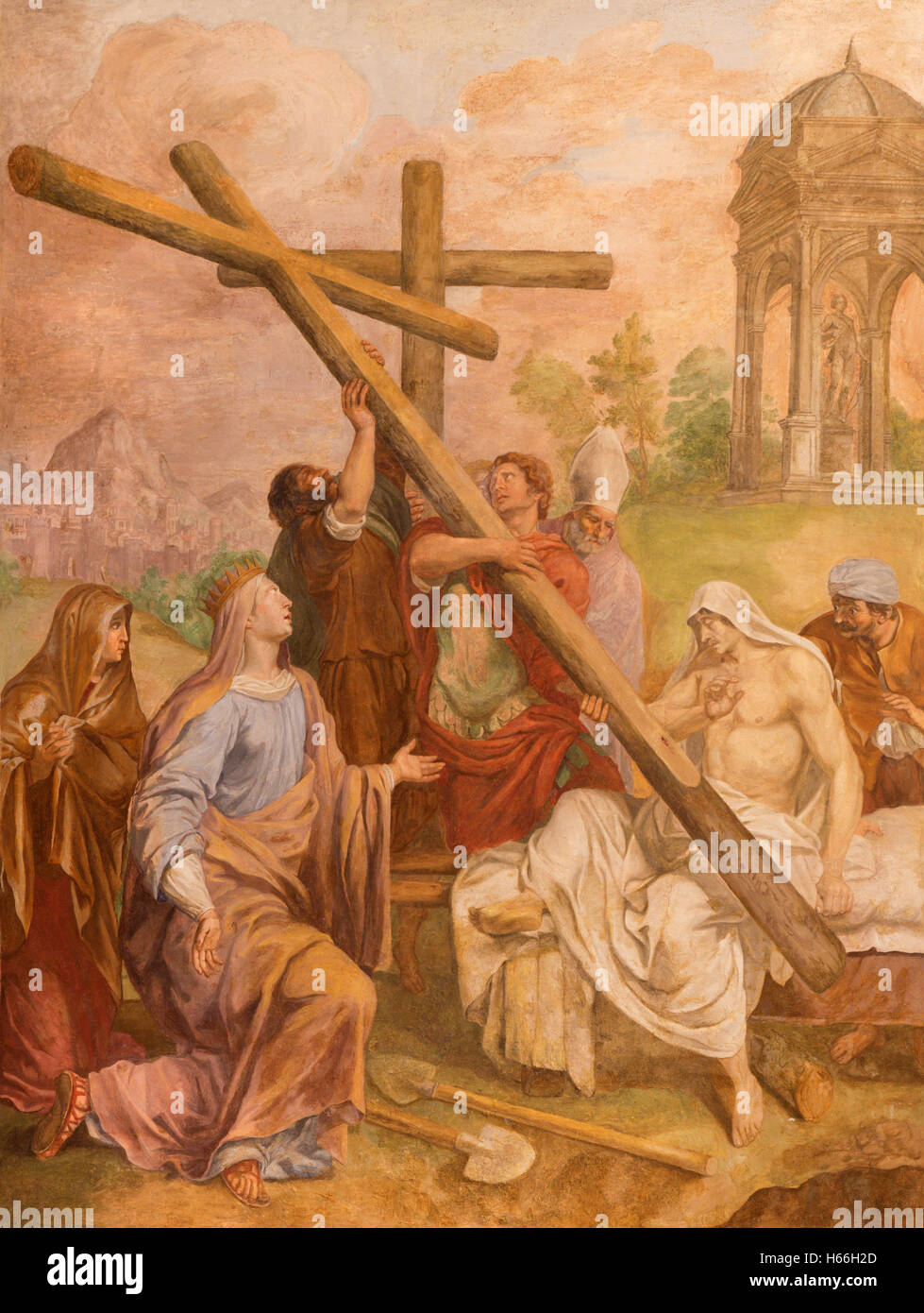 ROME, ITALY - MARCH 9, 2016: The fresco The St. Helen find the Holy Cross in church Basilica di Santa Maria del - Stock Image