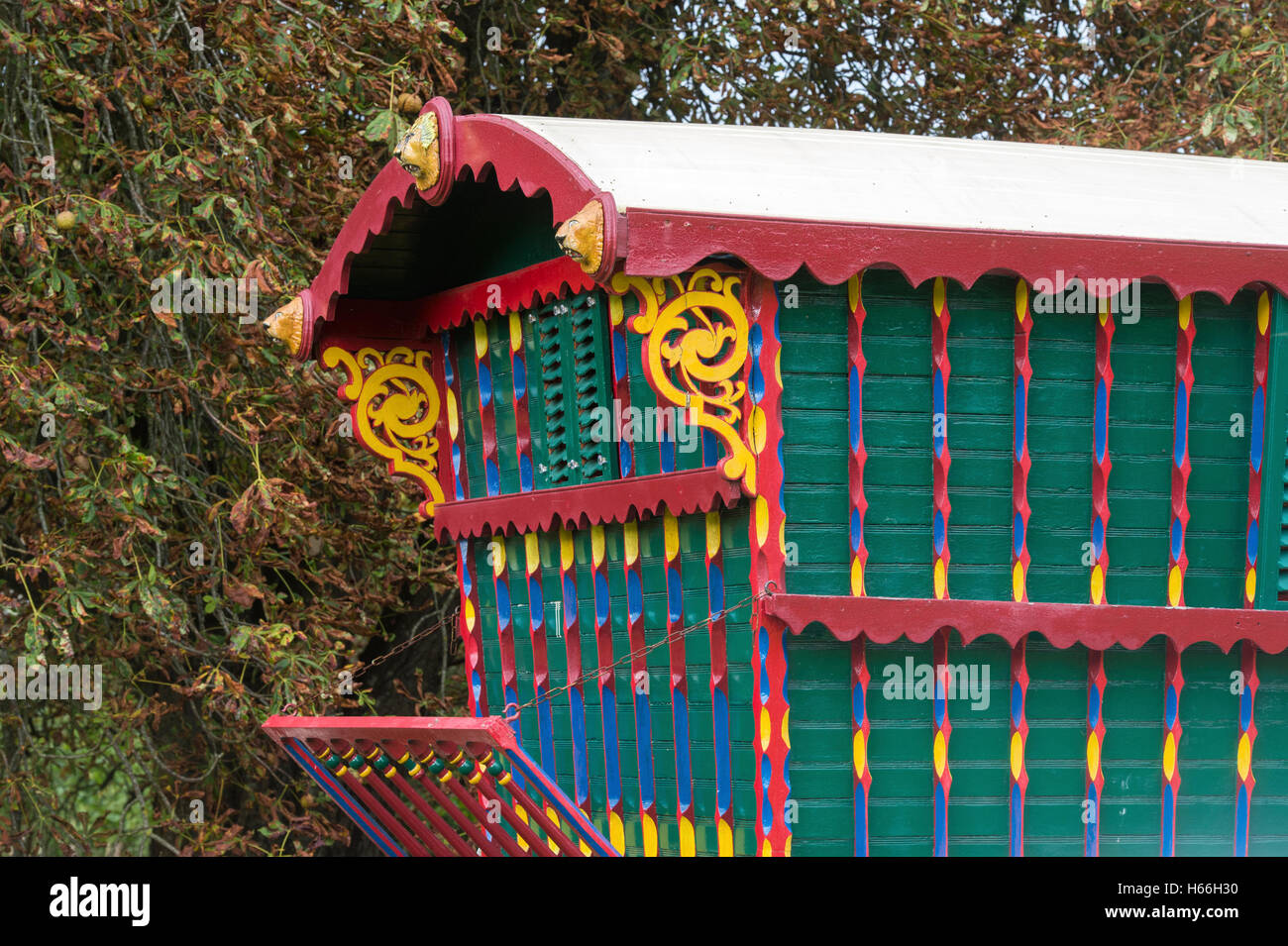 Reading style Gypsy caravan at Weald and Downland open air museum, Singleton, Sussex, England - Stock Image