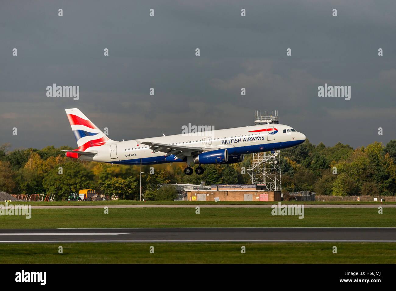 Airbus A320 - MSN 4975 - G-EUYN British Airways Manchester Airport Englan Uk. Arrivals, departures. landing, take - Stock Image