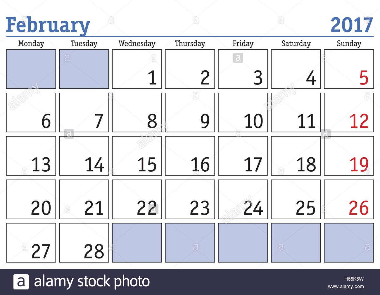 image about Printable Calendar Feb. named Very simple electronic calendar for february 2017. Vector printable