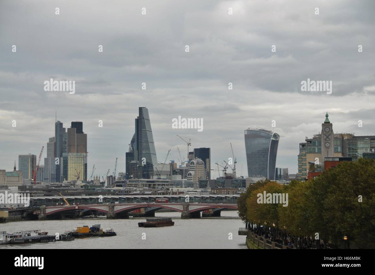 London's river Thames and the City. - Stock Image