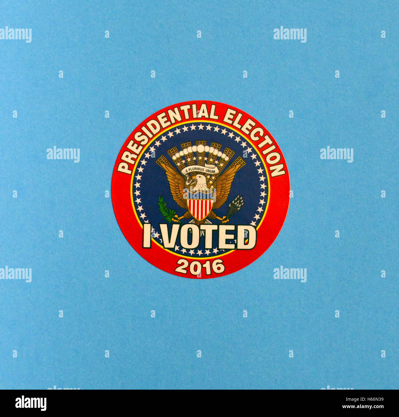 A colorful 'I VOTED' sticker is handed out to anyone voting in the 2016 United States Presidential Election. - Stock Image