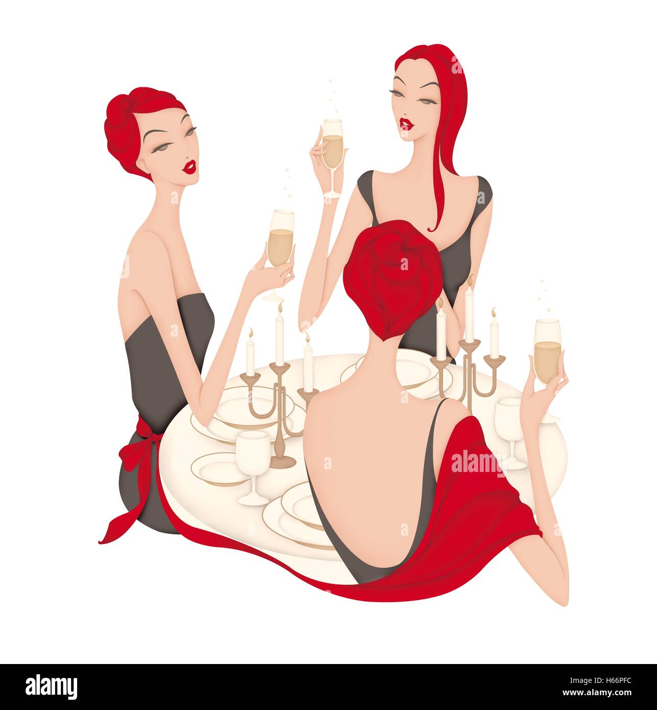 Three women drinking champagne - Stock Image