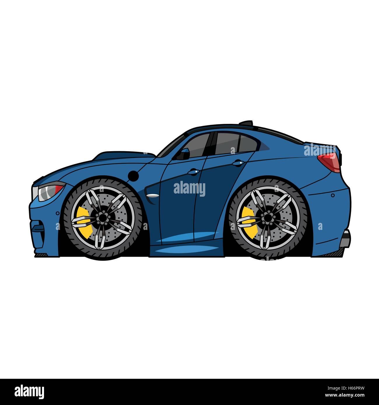 Vector Blue Cartoon Car With Big Wheels Stock Vector Image Art Alamy