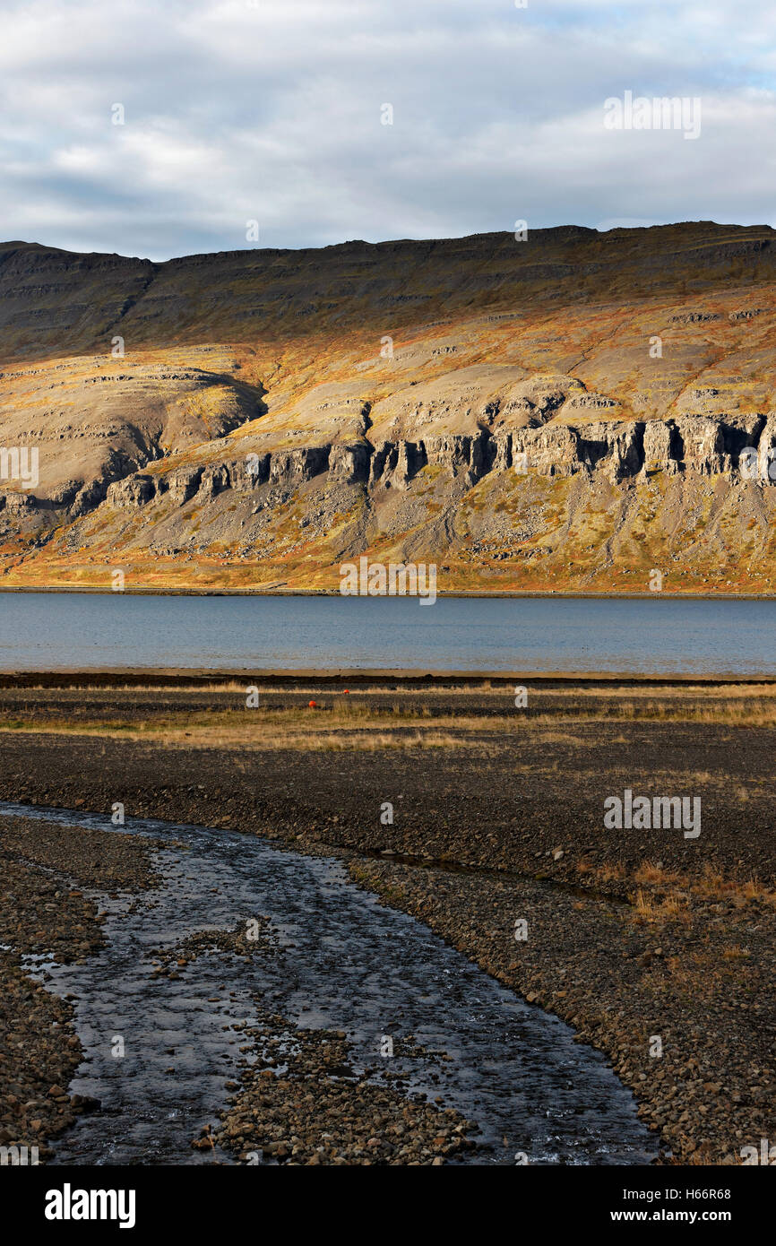 Fjord landscape, Westfjords, Iceland, North Atlantic, Europe - Stock Image