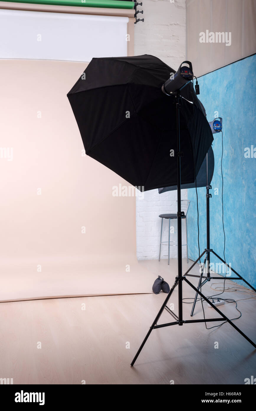 Empty Photo Studio With Lighting Equipment And Paper Background Ready Stock Photo Alamy