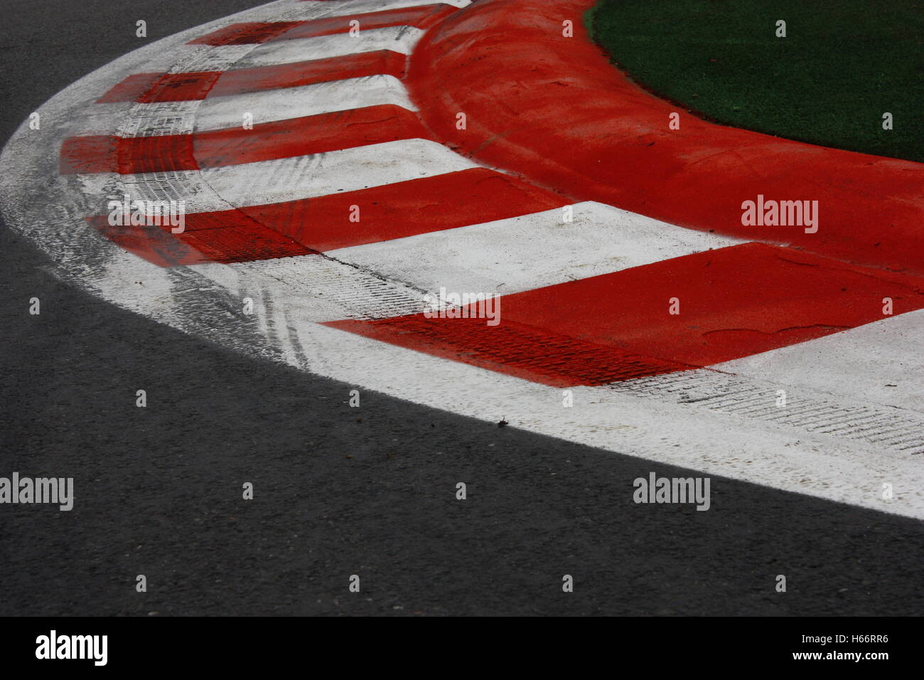 Bus stop chicane kerbs at Spa Francorchamps formula 1 circuit, Belgium - Stock Image
