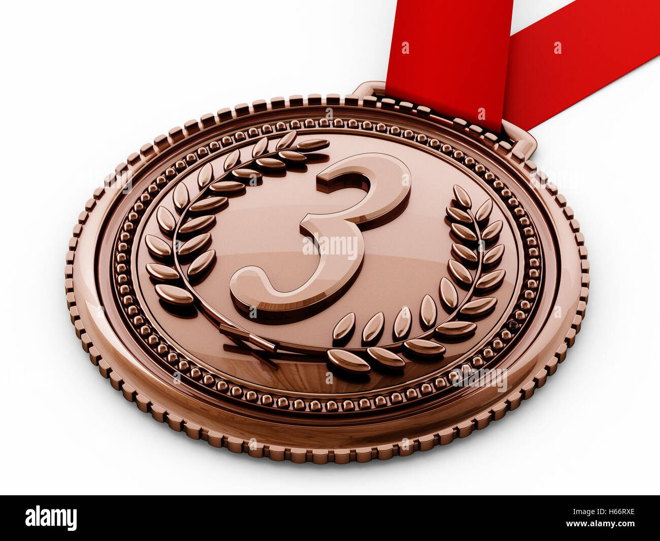Bronze medal with number three and laurels. 3D illustration. - Stock Image