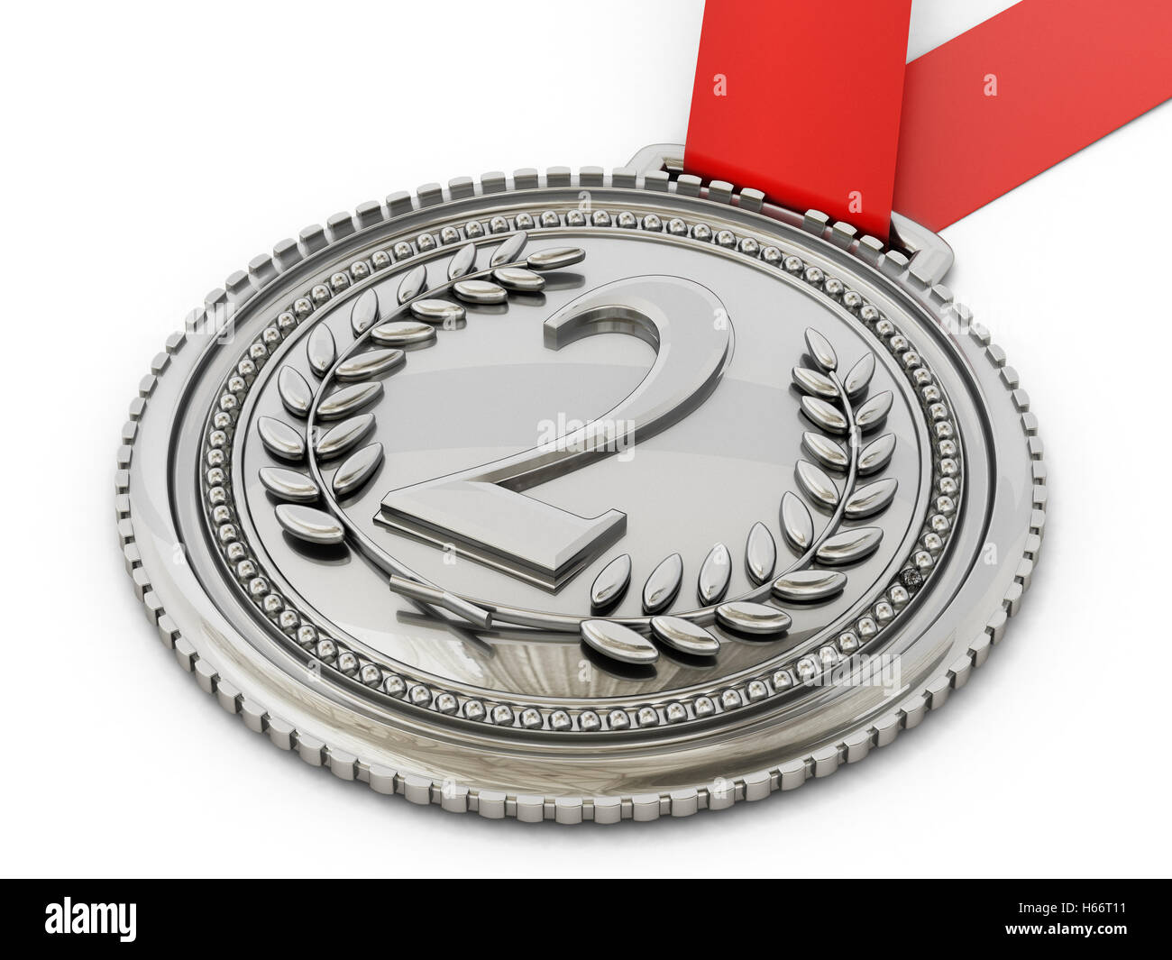 Silver medal with number two and laurels. 3D illustration. - Stock Image