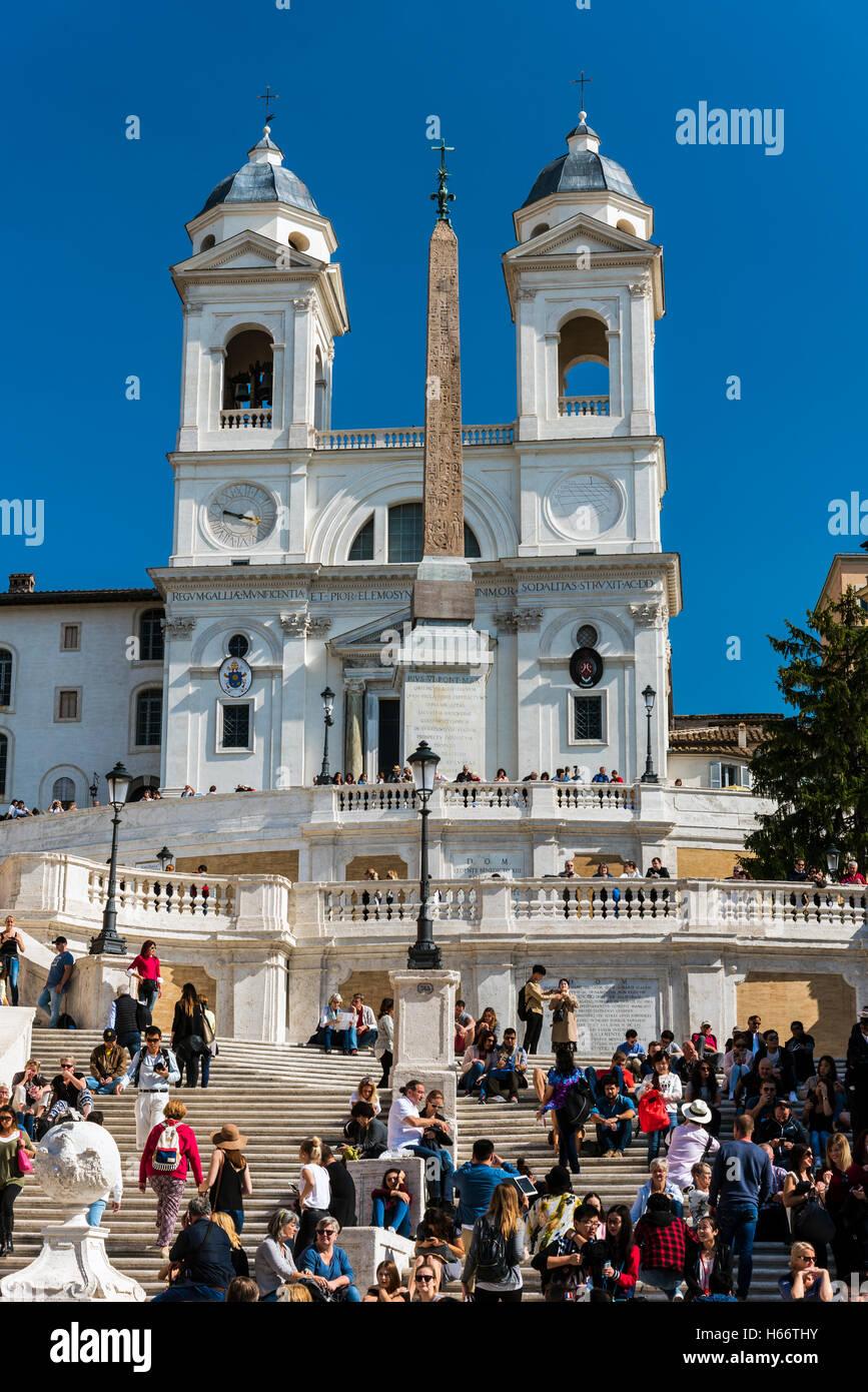 The church of the Santissima Trinita dei Monti, Rome, Lazio, Italy - Stock Image
