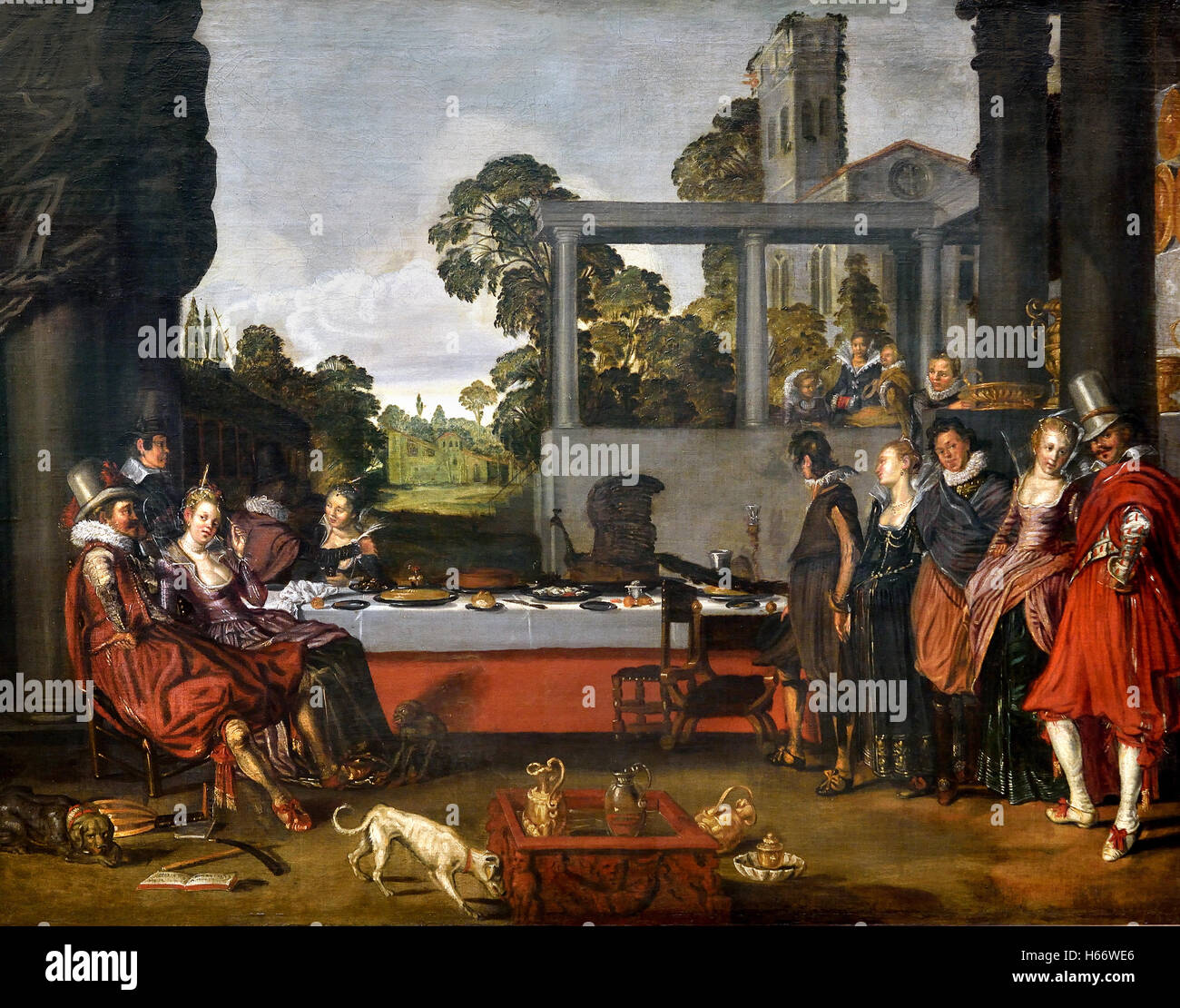 Merry company on a garden terrace 1616 Willem Buytewech 1591 - 1624 Rotterdam Dutch Netherlands ( Golden Age ) - Stock Image