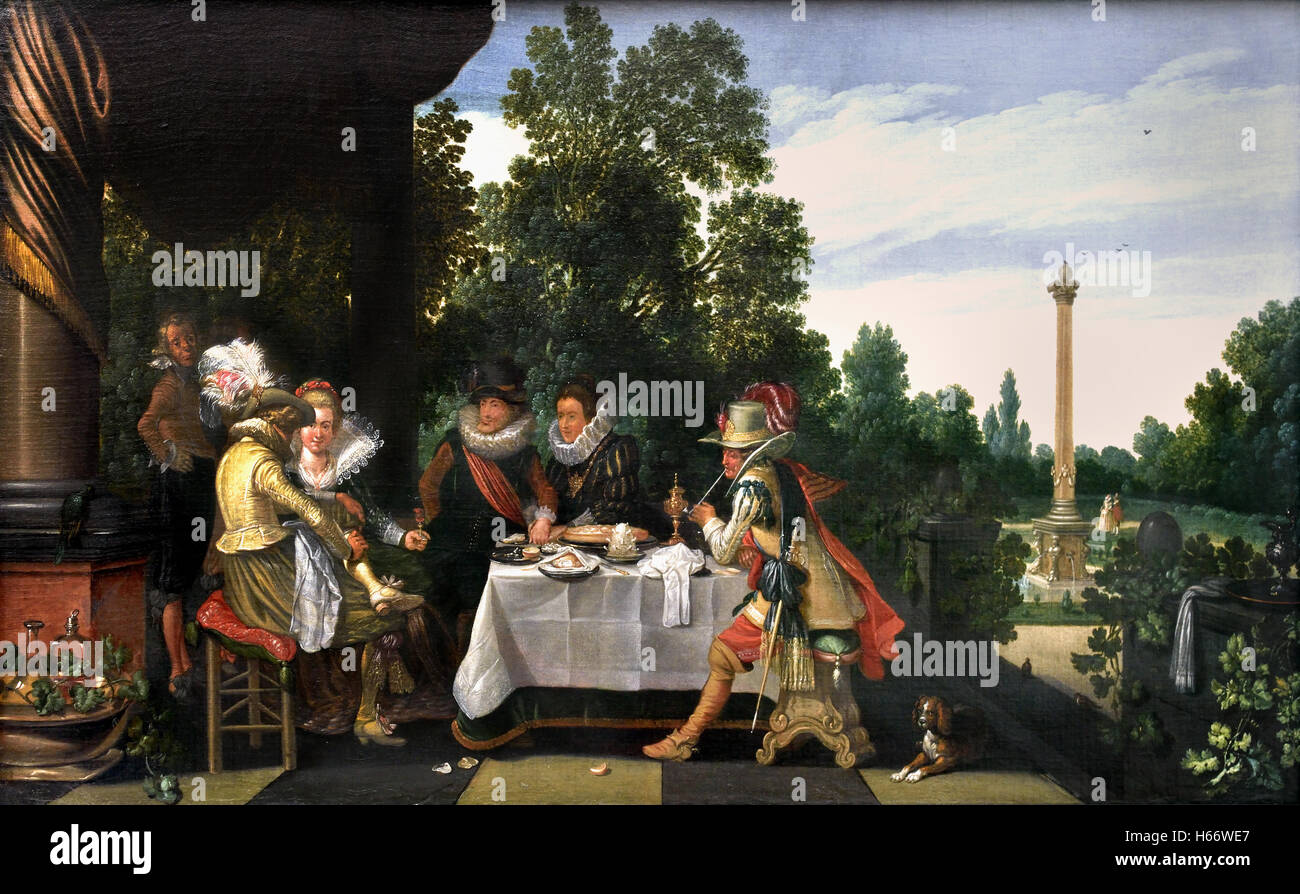 Merry company on a garden terrace 1620 Esaias van de Velde 1590 Amsterdam 1590 - 1630 The Hague Dutch Netherlands - Stock Image