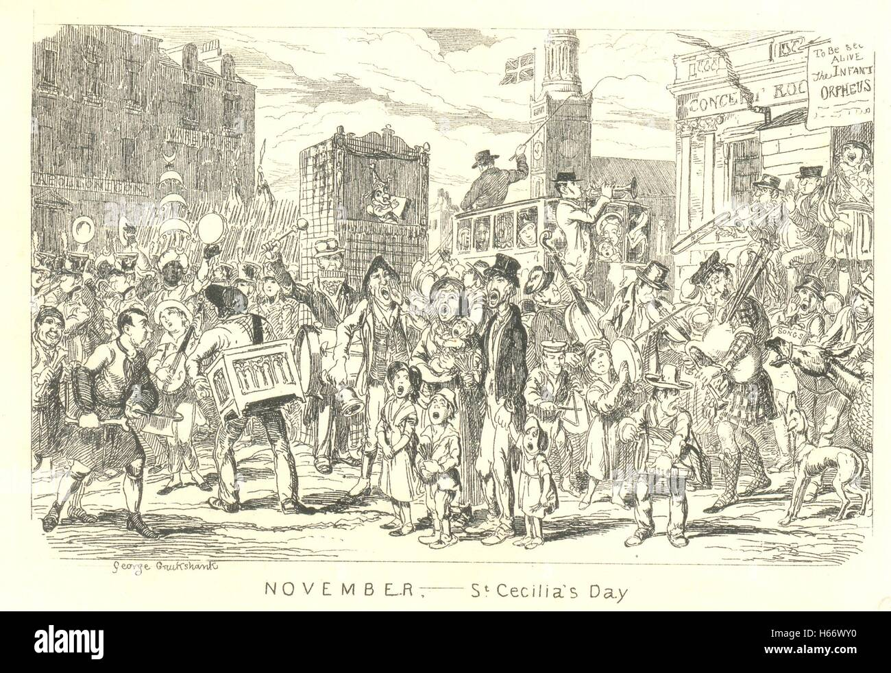 Engraving by George Cruikshank for St Cecilia's Day, 22nd November - Stock Image