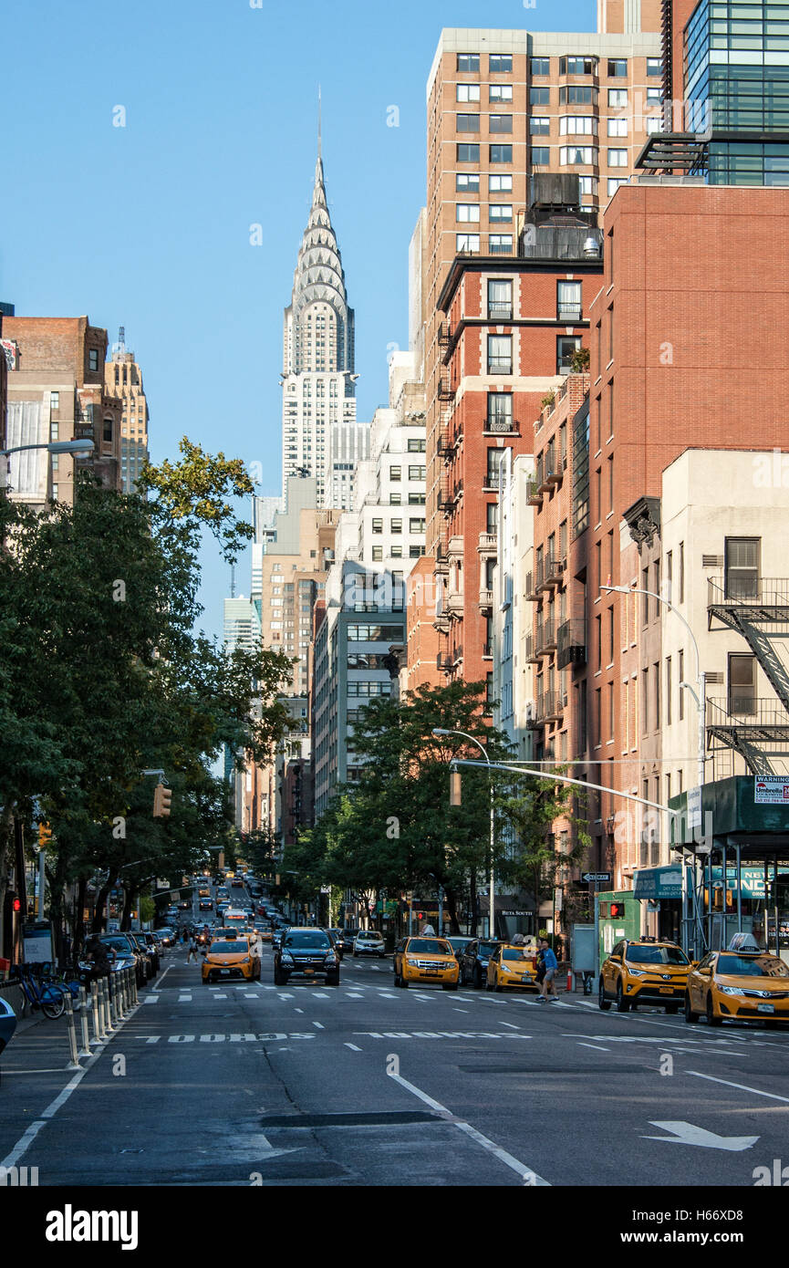 6th Avenue street view with Chrysler Building