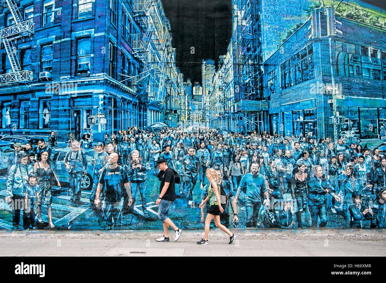 Large mural, Graffiti art, Street art, artist Logan Hicks, SoHo, Houston Street, Manhattan, New York City - Stock Image